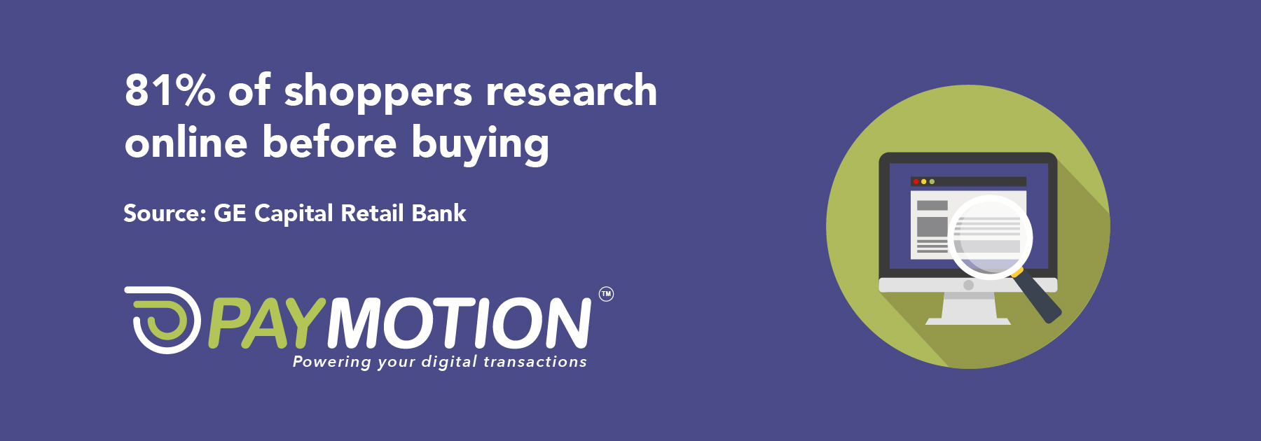 PayMotion, 81% of shoppers research online before buying image