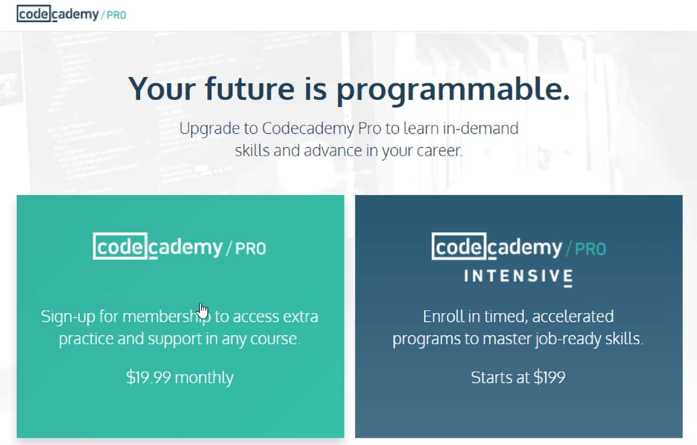 Here is Codecademy's headline