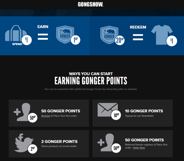 Despite its name, Gongshow has a very easy to understand loyalty concept