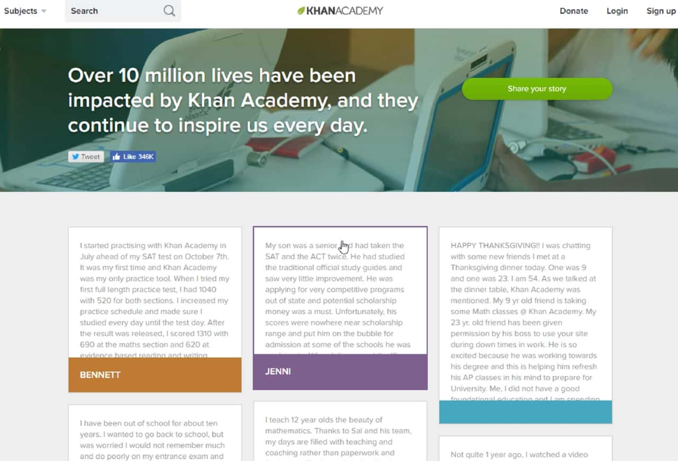 "Here's how Khan Academy uses social proof on its ""Stories"" page"