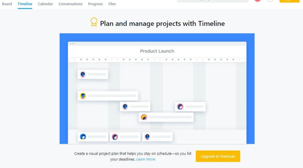 Asana Timeline for free users into premium users