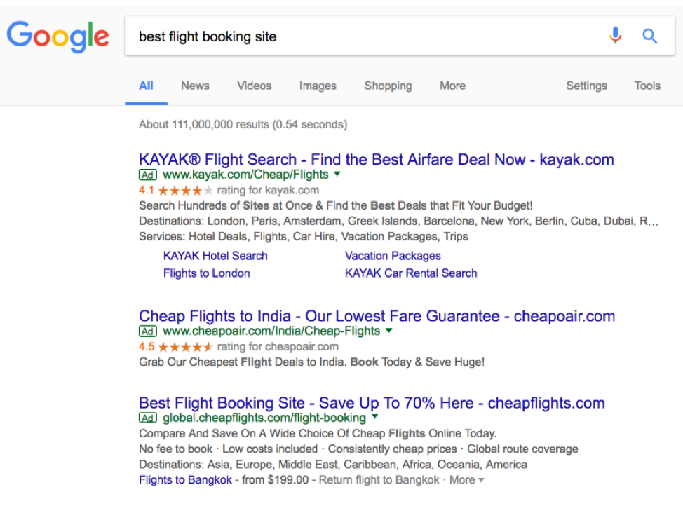 google search of best flight booking site